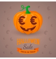Pumpkin with euro eyes vector image
