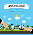 search house with loupe banner concept vector image vector image
