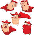 Set Cartoon Cute Pigs in Superhero