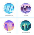 set of round emblems with city landscapes vector image