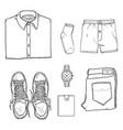 sketch set casual men clothes vector image vector image