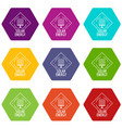 solar energy icons set 9 vector image vector image