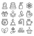 spa icons set on white background line style vector image vector image