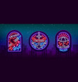 tattoo parlor set logos in neon style vector image