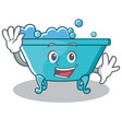 waving bathtub character cartoon style vector image vector image