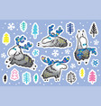 winter deer with decorative horns sticker set vector image vector image