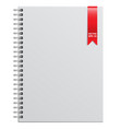 white notebook and red ribbon vector image