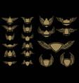 set of winged emblems in golden style design vector image