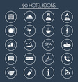 20 hotel services icons Silhouette vector image vector image