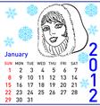 2012 year calendar in january vector image