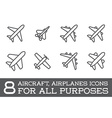 Aircraft or Airplane Icons Set Collection vector image vector image