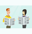 asian woman and caucasian man reading newspapers vector image vector image