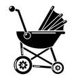 baby carriage retro icon simple black style vector image vector image
