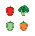 bell pepper and broccoli flat style icon set vector image vector image