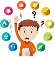 Boy asking questions about school work vector image vector image