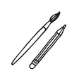 brush and pencil vector image