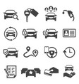 car sharing black glyph icons set vector image vector image