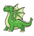 cartoon green dragon smiling vector image