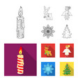 christmas candle deer angel and snowflake vector image vector image