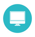 circle light blue with lcd monitor vector image vector image