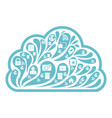 cloud social media white icon vector image vector image