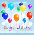 congratulations postcard colorful balloons flying vector image vector image
