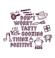 Cooking poster positive thing objects ink vector image