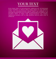 envelope with valentine heart icon letter love vector image vector image
