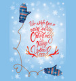 greeting card with cute blue knitted mitten pair vector image vector image