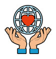 hands human protection with world planet and heart vector image vector image