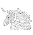 Head unicorn coloring for adults vector image