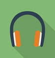 Headphones icon Modern Flat style with a long vector image vector image