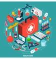 Healthcare concept isometric icon vector image vector image