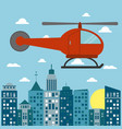 helicopter transport city sun vector image