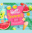 hello summer 2019 pink card or banner vector image