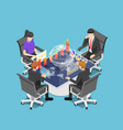 isometric group businesspeople meeting and vector image vector image