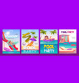 kids aquapark pool party banners set invitation vector image vector image