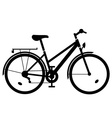 lady bike black silhouette vector image vector image