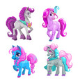 little cute cartoon pony princess set vector image vector image