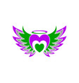 love heart wing freedom logo vector image vector image