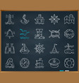 marine chalk draw line icons set vector image