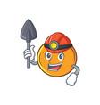 miner orange fruit cartoon character vector image vector image