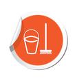 mop and busket ORANGE LABEL vector image
