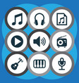 music icons set with radio playlist note and vector image