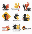no racism and tolerance isolated icons holding vector image vector image