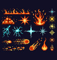 pixel game light effects bright flash light vector image