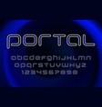 portal futuristic display font design alphabet vector image vector image
