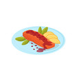 salmon fish with pomegranate sauce on a plate vector image vector image