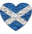 Scotland flag on a brick wall in heart shape