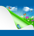 Spring background with sky flowers grass vector image vector image